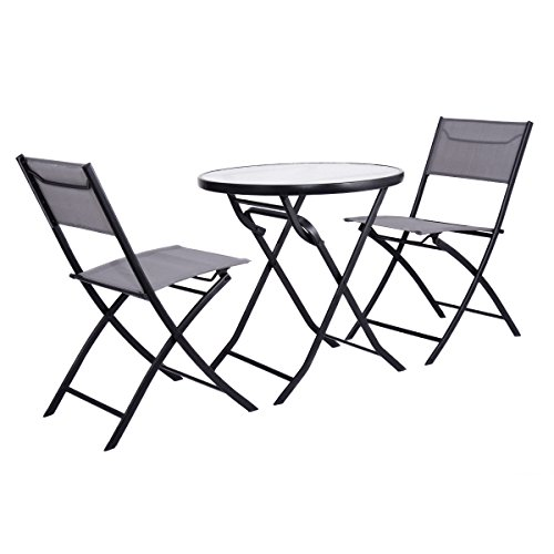 Folding Table and 2 Chairs Set Metal Tempered Glass Outdoor Patio Garden Pool by Eramaix