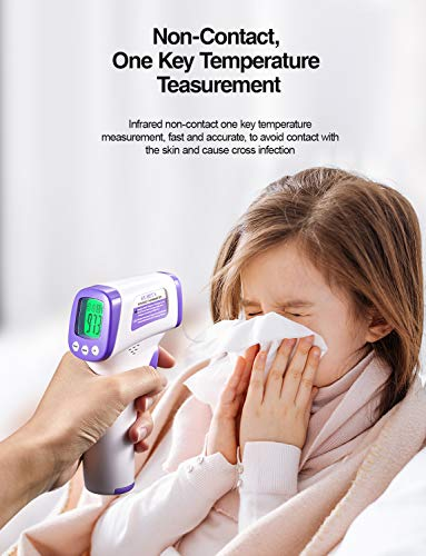 Infrared Thermometer for Adults, Non Contact Forehead Thermometer with Fever Alarm, Accurate Reading and Memory Function, Children, Kids and The Elderly & Surface of Objects Use