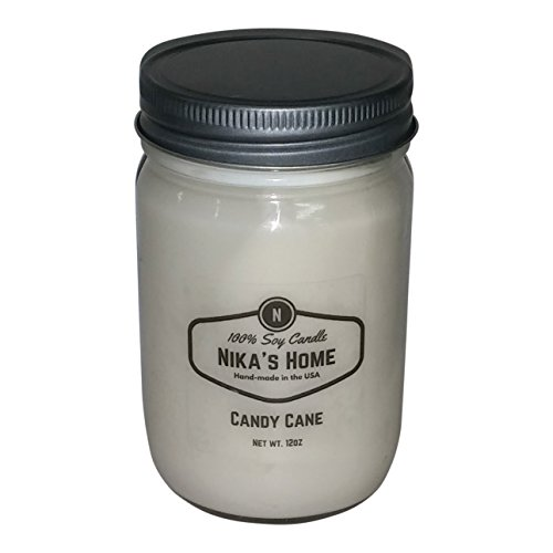 Nika's Home Candy Cane Soy Candle - 12oz Mason Jar