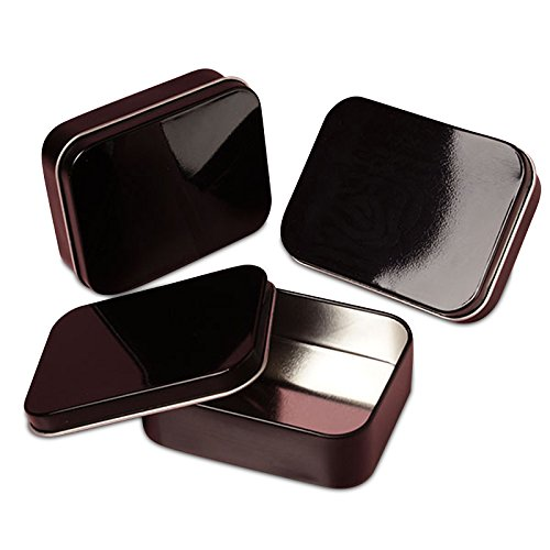 24ea - 4 Oz Black RecTurquoiseular Tin Can-Pkg | Width: 2 5/8'' Width 2 9/16''