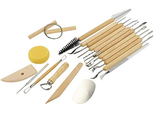 Sculpting Tools – 19-Piece Pottery Carving Tools Set – Double-Sided Ceramic Modeling Tools for Clay and Wood Sculptures – for Beginners Professional Art Crafts – Steel and Hard Wood Handles