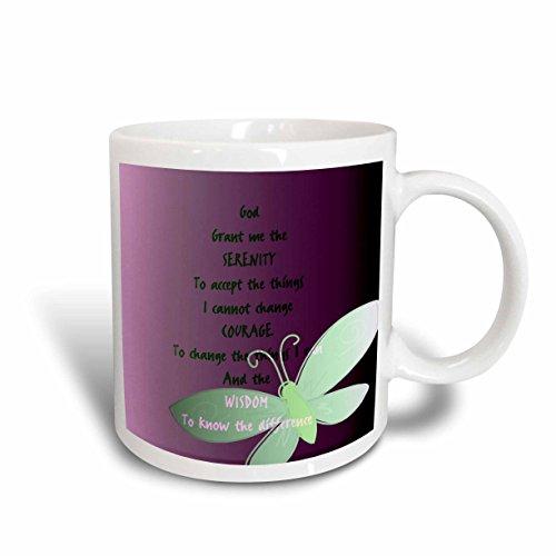 3dRose Serenity Prayer Butterfly Purple Art Ceramic Mug, 15-Ounce