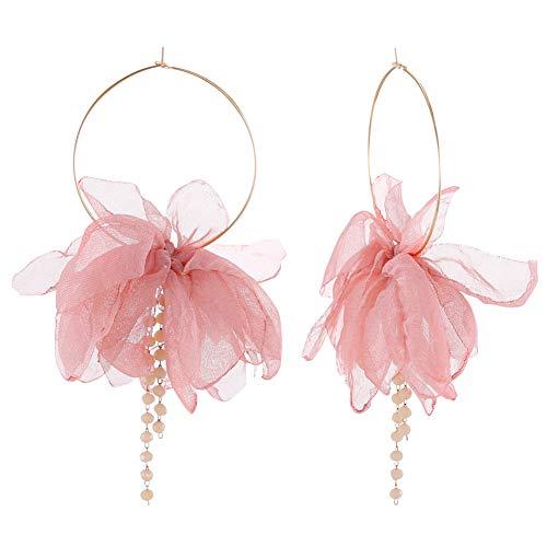 FAMARINE Elegant Chiffon Fabric Flower Petals Pendant Hoop Earrings Gold Hoop with Beads for Women Jewelry Gift, Pink (Pink Floral Earrings)