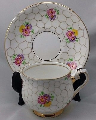 Bone Phoenix China - VintageThomas Forester & Sons England Phoenix Bone China Honeycomb & Flowers Tea Cup and Saucer Set