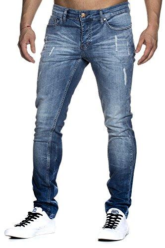 TAZZIO Slim Fit Herren Destroyed Look Stretch Jeans Hose Denim 1002 32/32