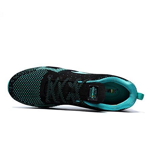 Herren atmungsaktiv Weave Laufschuhe Sport Sneaker Blau Grün