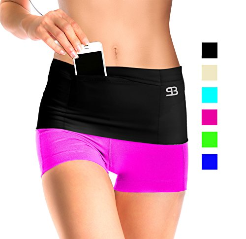 StashBandz-Unisex-Travel-Money-Belt-Running-Belt-Fanny-and-Waist-Pack-4-Large-Security-Pockets-and-Zipper-Fits-All-Size-Phones-Passport-and-More-Extra-Wide-Spandex