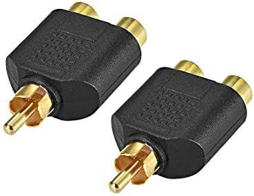 uxcell RCAオス-2 RCAメスコネクタ ステレオオーディオビデオケーブルアダプタースプリッター ブラック 2個