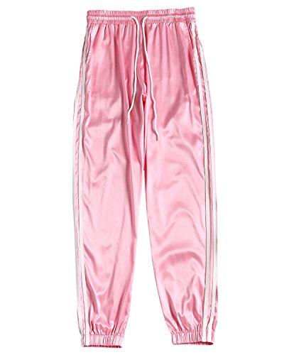 ZAFUL Womens Casual Sporty Pants Waistband Stripe Side Jogging Piping (Pink Jogging Pants)