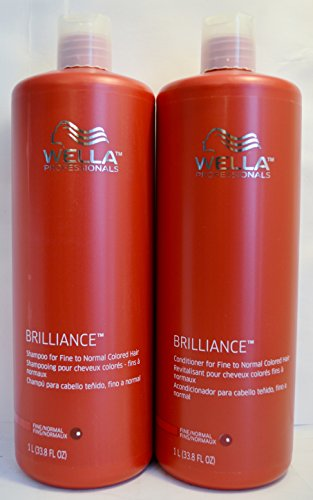 Wella Brilliance Conditioner and Shampoo For Fine To Normal Colored Hair 33.8 Ounce Duo Set