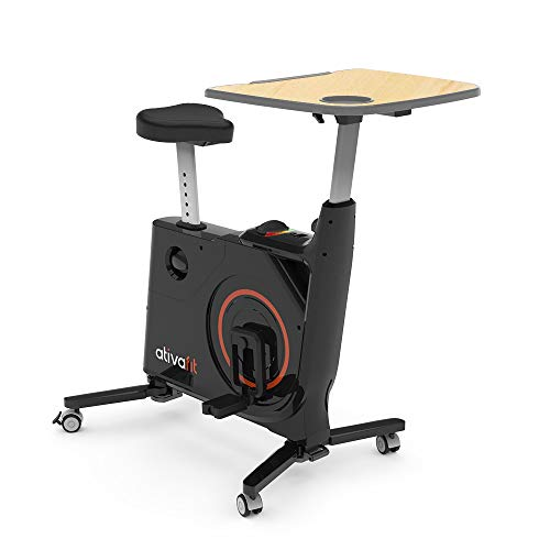 ATIVAFIT Folding Home/Office Fitnessbike with Adjustable and Removable Desk Indoor Cycling with Adjust Table Black
