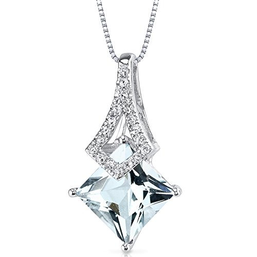 - 14 Karat White Gold Princess Cut 1.45 carats Aquamarine Diamond Pendant
