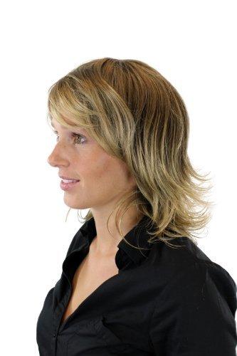 WIG ME UP ® - Peluca de mujer, mechas modernas marrón con rubio (8T124