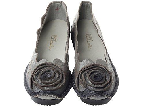 Vogstyle Mano Fiori Fatto Primavera Scarpe 8 A Stile Donne grigio Vintage Pelle Estate rwIrq0