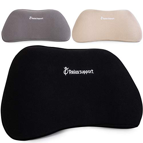 RS1 Back Support Pillow by RelaxSupport - Lumbar Pillow Upper and Lower Back for Chair Back Pain Uses ArcContour Special Patented Technology Has Unique Lateral Convex Shape for a Pain Free Back