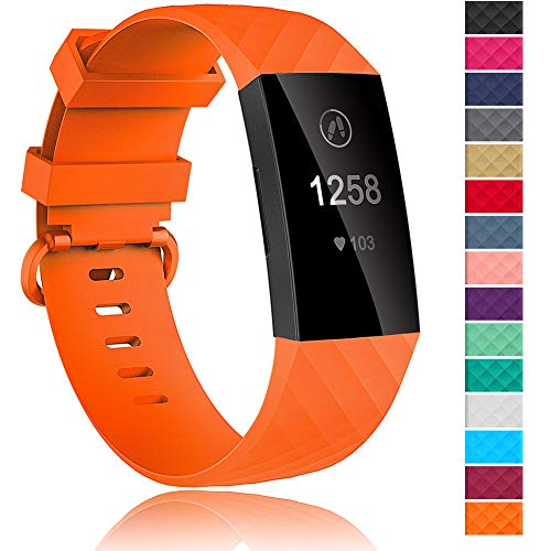- Velavior 15 Colors Bands for Fitbit Charge 3 / Charge3 SE, Waterproof Replacement Wristbands for Women Men Small Large (Orange, Small)