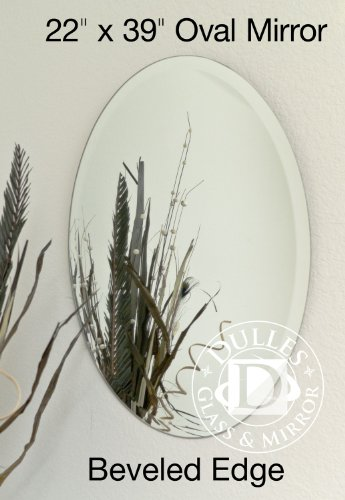 TroySys Frameless Beveled Mirror: Oval Shape, 1/4'' Thick Glass Mirror, 22'' L x 39'' W by TroySys