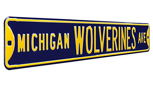 "Authentic Street Signs 70007 Michigan Wolverines Ave, Heavy Duty, Metal Street Sign Wall Decor, 36"" x 6"""