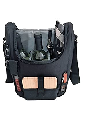 Plush Picnic - 2 Person Wine and Cheese Insulated Cooler Tote with Glasses, Wood Cheese Board Set