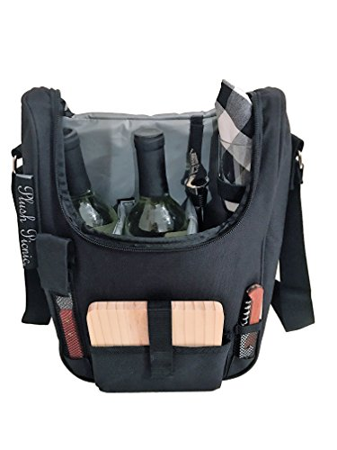 For Sale! Plush Picnic - 2 Person Wine and Cheese Insulated Cooler Tote with Glasses, Wood Cheese Bo...