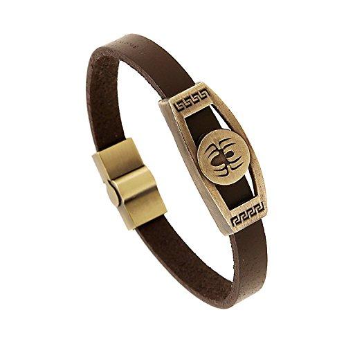 Vintage European and American antique copper alloy spider genuine leather bracelet fashion wild new creative men and women couple models bracelet ()