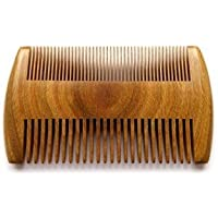 "Myhsmooth G8S-SM-NF Handmade Natural Green Sandalwood No Static Beard Comb Pocket Comb with Aromatic Scent for Long and Short Beards Perfect Mustache Comb(4"" Two Sides)"