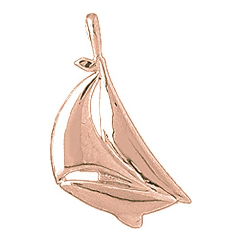 Sailboat Charm Gold Plated - Rose Gold-plated Silver 27mm Sailboat Pendant