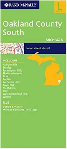 Folded Map Oakland County South Michigan Rand Mcnally City Maps