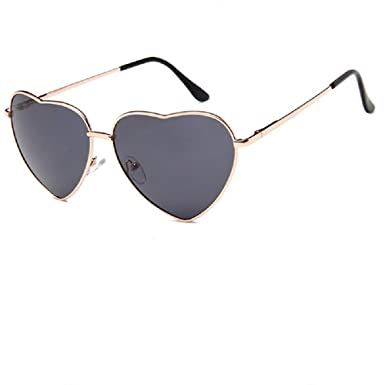 BIGBOBA 1 Vintage Gafas de Sol-Colorear Gafas de sol para Hombre y Mujer, Gafas de Sol Reflectantes, Forma de Corazon Gafas de Sol