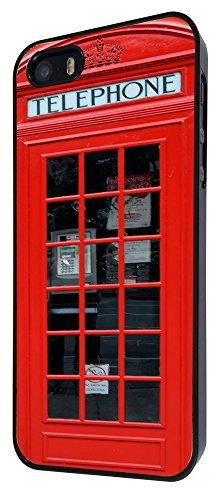 543 - UK Red Call Box Funky Design iphone 4 4S Coque Fashion Trend Case Coque Protection Cover plastique et métal - Noir