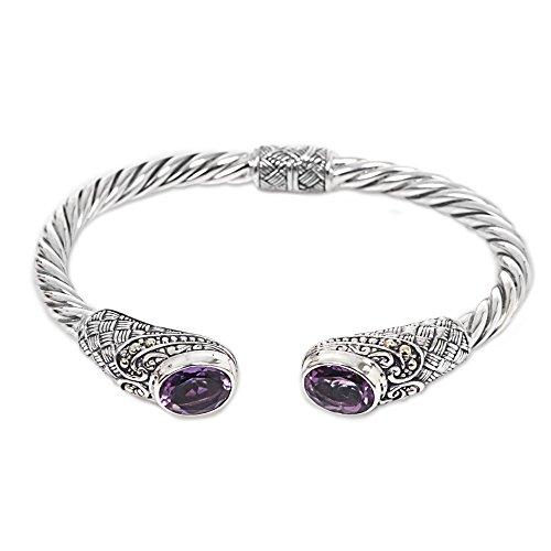 NOVICA Amethyst .925 Sterling Silver Hinged Twist Cuff Bracelet 'Sterling Rope'