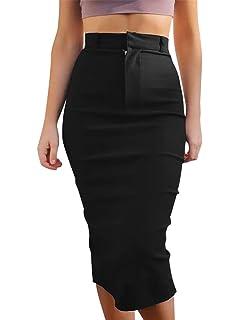 ee4098aef EUTOB Women's High Waist Stretch Casual Bodycon Office Midi Pencil Skirt