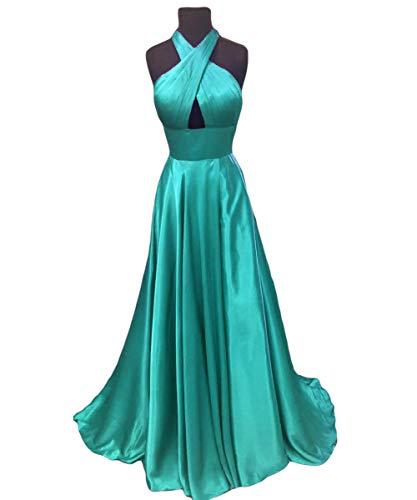 Dreagel Sexy Dos Nu Robes Formelles Turquoise Robe De Soirée De Bal Du Cou Croix Dos Nu Féminin