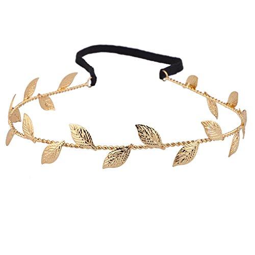 Lux Accessories Halloween Girls Fun Metal Leaf Textured Woven Stretch Headband