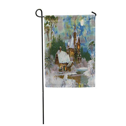 Tarolo Decoration Flag Victorian Peaceful Winter Scenic 1907 Vintage Christmas Scene Ives Currier Era Thick Fabric Double Sided Home Garden Flag 12