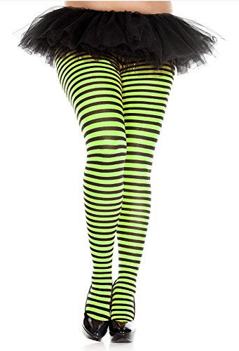 Music Legs Plus Size Opaque Striped Tights Black/Neon Green -