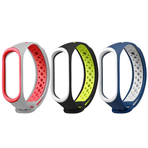 Hanku3PC Replacement Ventilate Sport Soft Wristband Wrist Strap for Xiaomi Mi Band 4 (B)