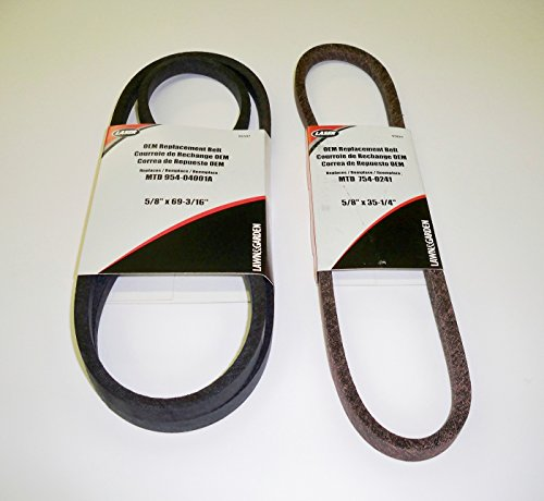 Set of 2, OEM Duplicate Belts Replaces Both Variable Speed Belts 754-04001 and 754-0241A (also 954-04001 and 954-0241A, 954-05040). Used On MTD, White, Wards, Cub Cadet, Troy Bilt, Bolens and other MT