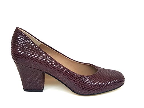 XERRIE Women´s Snake Block Bordeaux Leather Toe Leather Heel Closed Print Pumps Suede with GENNIA H4qxnw6H