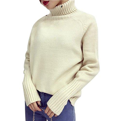 XGMSD Suéteres Flojos Femeninos Otoño Invierno Caliente Simple Bottoming Shirt Beige