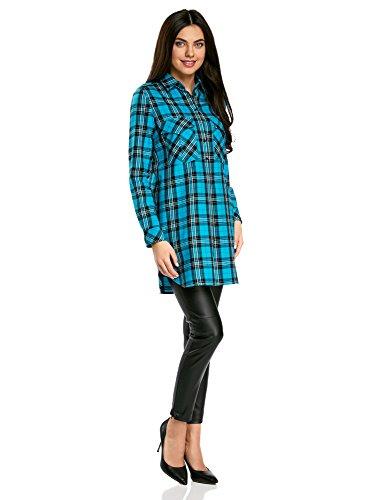 Ultra Oodji Poches Robe Avec Turquoise7329c Femme chemise OuXTwPZik