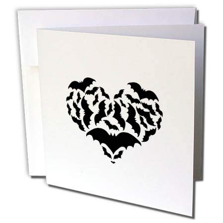 3dRose BlakCircleGirl - Halloween - Batty Love - Bat Silhouettes in a Heart Shape - 12 Greeting Cards with envelopes (gc_286878_2)