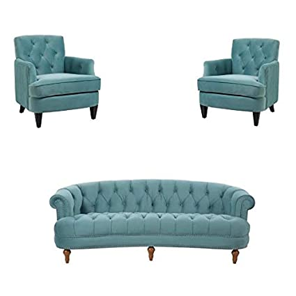 Chesterfield Sofa With Accent Chairs.Amazon Com Jennifer Taylor Home 3 Piece Sofa Set With Chesterfield