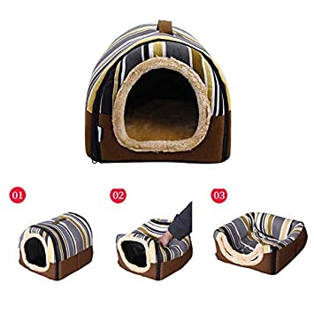 Wellouis Letto per Cani Pet Cat House Pieghevole Morbida Spugna Calda Cave Puppy Beds Kennel Nest Plush Cat Tent