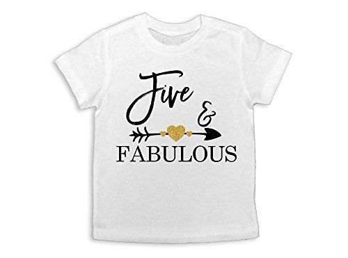 Oliver and Olivia Apparel 5th Birthday Shirt Girl's Birthday Shirt Five and Fabulous (XS (5th Birthday Girl)