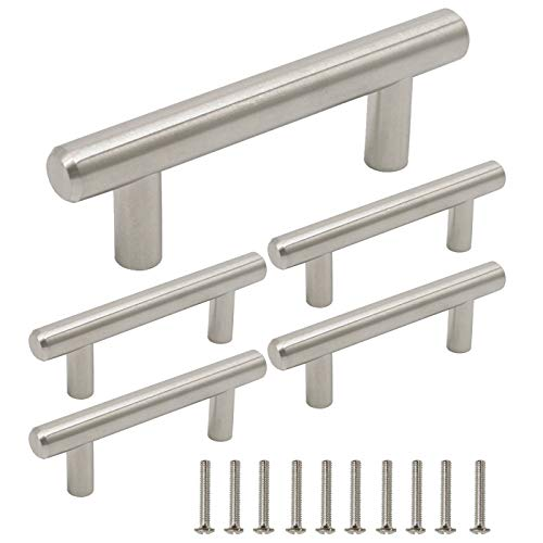 Gobrico GB201HSS64 Stainless Steel Cabinet Pull Handle for Furniture Drawer Cupboard Dresser T-bar (Hole Center:64mm/2.5in,5 Pack) ()
