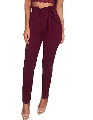Couleur Unie Rouge Casual Femmes Taille Fashion avec Long JackenLOVE Pantalons Bandage Vin Haute Slim Pants ng6Ex455w