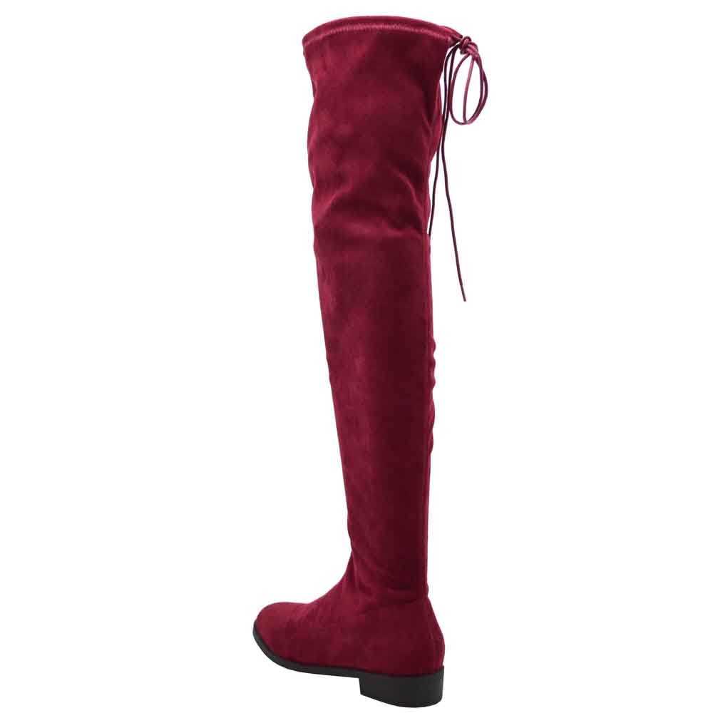 Olivia Jaymes Over The Knee Boot | Thigh High Drawstring Stretch Upper | Round Toe | Low Chunky Block Heel Boots B07857MNZY 8 B(M) US|Wine