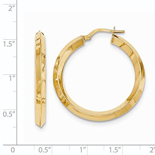 14k Yellow Gold Beveled Tube Hoop Earrings (1.2IN Long)