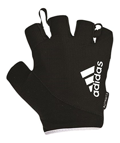 adidas Fingerless Gloves, Black/White Logo, X-Large Free Adidas Towel